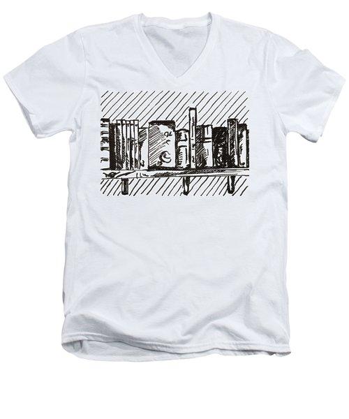 Bookshelf 1 2015 - Aceo Men's V-Neck T-Shirt by Joseph A Langley