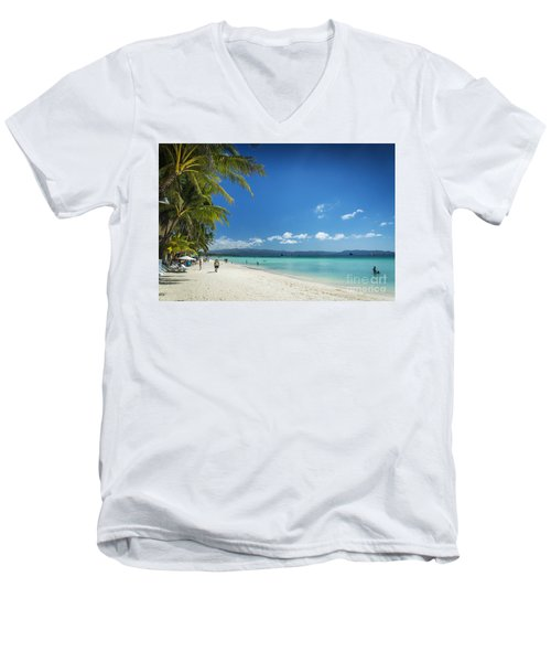 Boracay Island Tropical Coast Landscape In Philippines Men's V-Neck T-Shirt