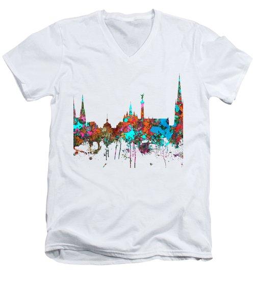Bordeaux France  Skyline  Men's V-Neck T-Shirt by Marlene Watson