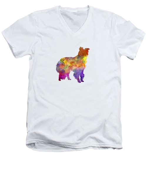 Border Collie In Watercolor Men's V-Neck T-Shirt by Pablo Romero