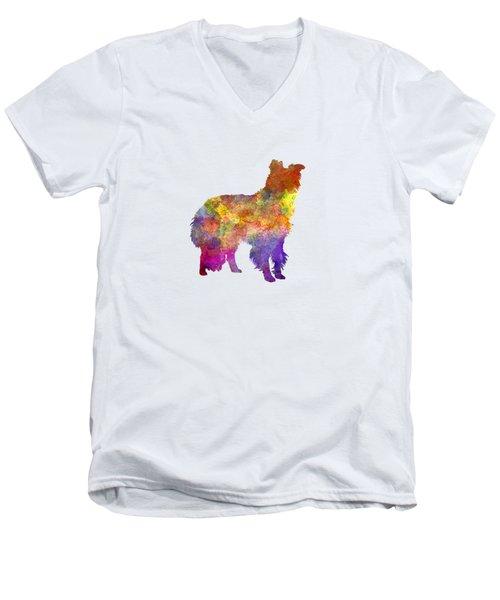 Border Collie In Watercolor Men's V-Neck T-Shirt