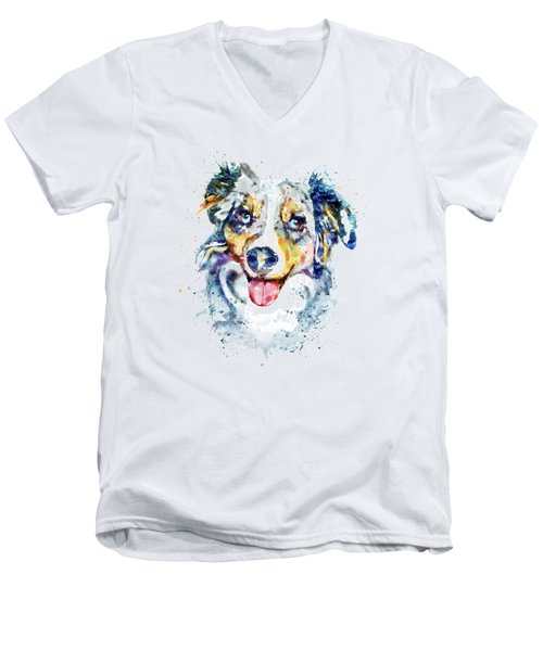 Men's V-Neck T-Shirt featuring the mixed media Border Collie  by Marian Voicu
