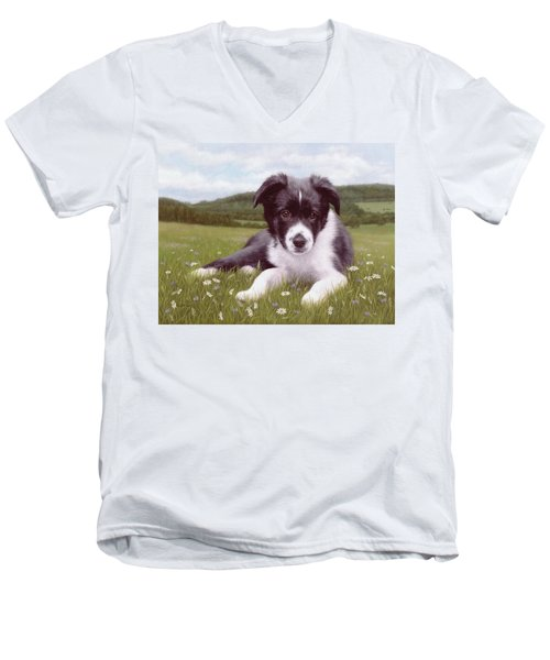 Border Collie Puppy Painting Men's V-Neck T-Shirt