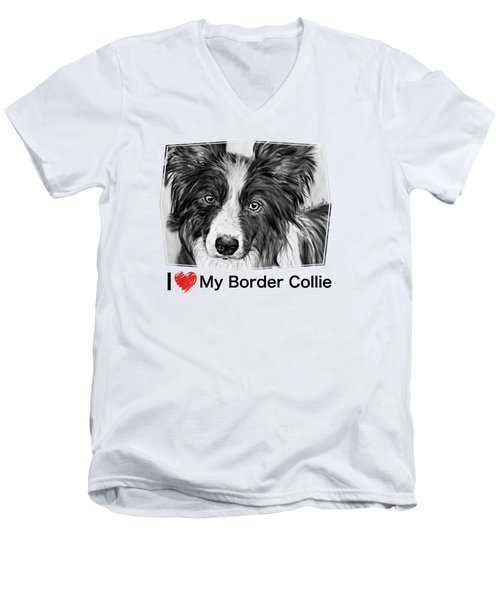 Border Collie Stare Men's V-Neck T-Shirt