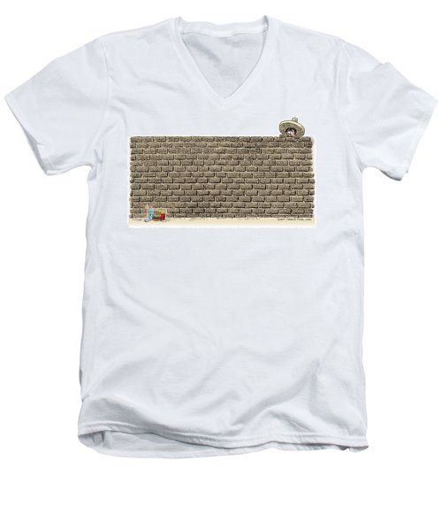 Men's V-Neck T-Shirt featuring the drawing Border Wall by Daryl Cagle