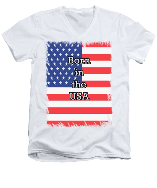 Born In The Usa Men's V-Neck T-Shirt