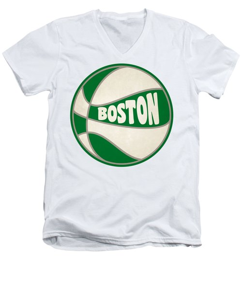 Men's V-Neck T-Shirt featuring the photograph Boston Celtics Retro Shirt by Joe Hamilton