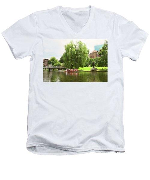 Boston Garden Swan Boat Men's V-Neck T-Shirt
