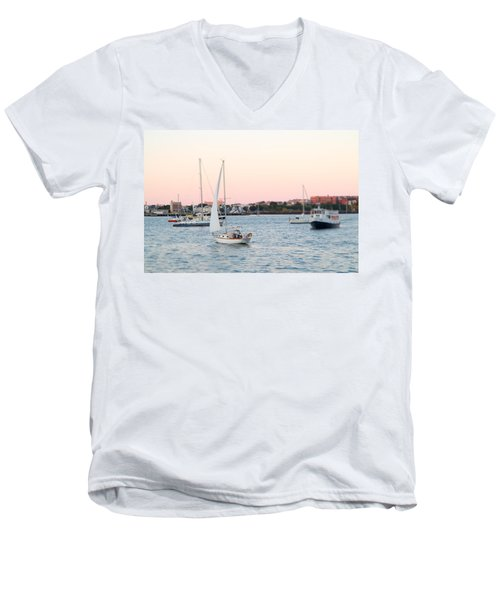 Boston Harbor View Men's V-Neck T-Shirt