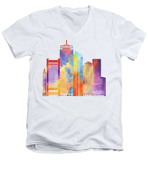 Boston Landmarks Watercolor Poster Men's V-Neck T-Shirt by Pablo Romero