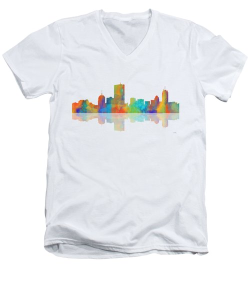 Boston Ma. Skyline Men's V-Neck T-Shirt