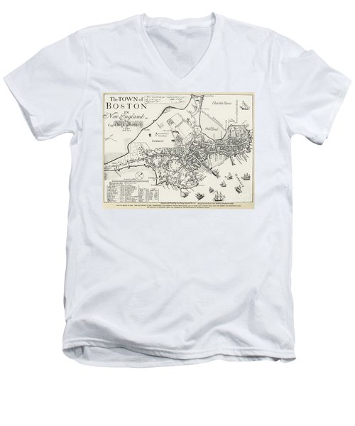 Boston Map, 1722 Men's V-Neck T-Shirt
