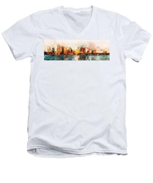 Boston, Panorama - 10 Men's V-Neck T-Shirt