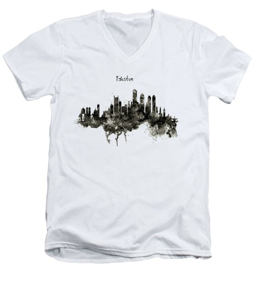 Boston Skyline Black And White Men's V-Neck T-Shirt by Marian Voicu
