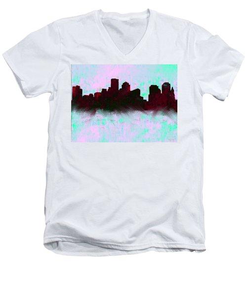 Boston Skyline Sky Blue  Men's V-Neck T-Shirt by Enki Art
