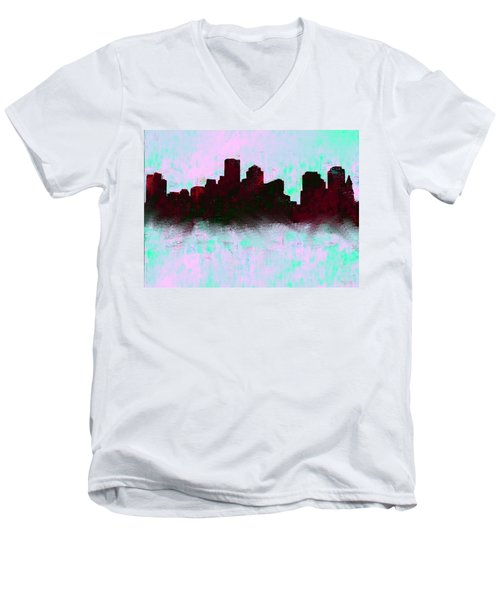 Boston Skyline Sky Blue  Men's V-Neck T-Shirt
