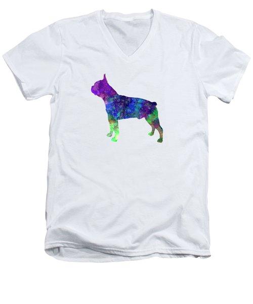 Boston Terrier 02 In Watercolor Men's V-Neck T-Shirt