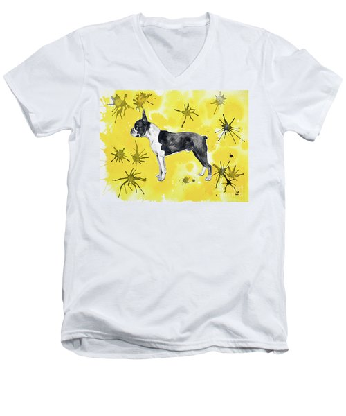 Men's V-Neck T-Shirt featuring the painting Boston Terrier On Yellow by Zaira Dzhaubaeva