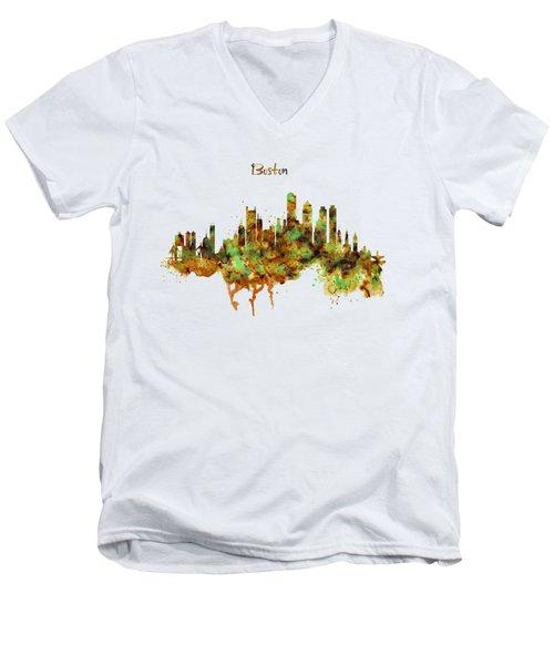 Boston Watercolor Skyline Men's V-Neck T-Shirt