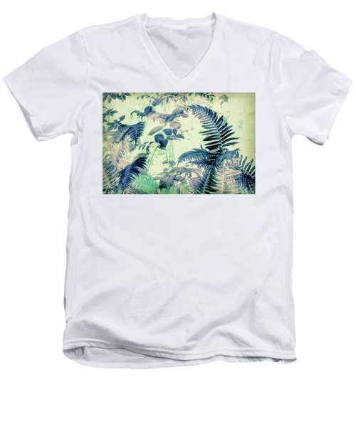 Men's V-Neck T-Shirt featuring the mixed media Botanical Art - Fern by Bonnie Bruno