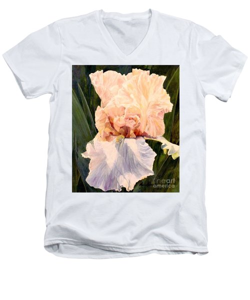 Botanical Peach Iris Men's V-Neck T-Shirt by Laurie Rohner