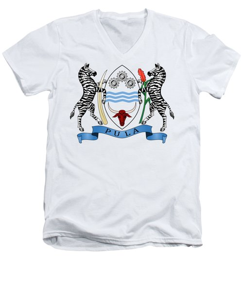 Botswana Coat Of Arms Men's V-Neck T-Shirt by Movie Poster Prints
