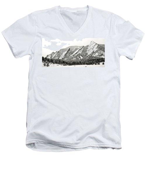 Boulder Flatirons Colorado 1 Men's V-Neck T-Shirt by Marilyn Hunt