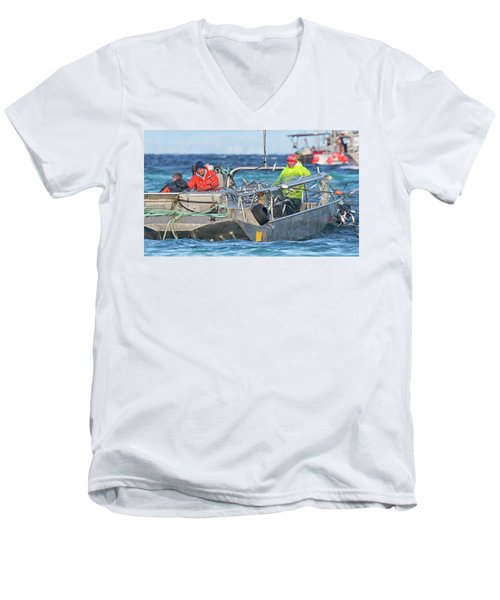 Men's V-Neck T-Shirt featuring the photograph Bouncing Herring by Randy Hall