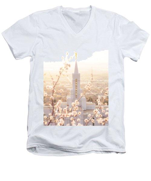 Bountiful Temple Blooms Men's V-Neck T-Shirt