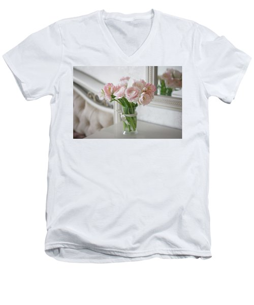 Men's V-Neck T-Shirt featuring the photograph Bouquet Of Delicate Ranunculus And Tulips In Interior by Sergey Taran