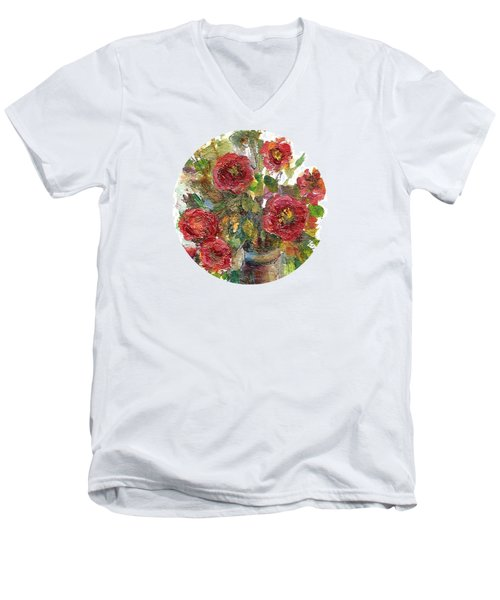 Men's V-Neck T-Shirt featuring the painting Bouquet Of Poppies by Mary Wolf