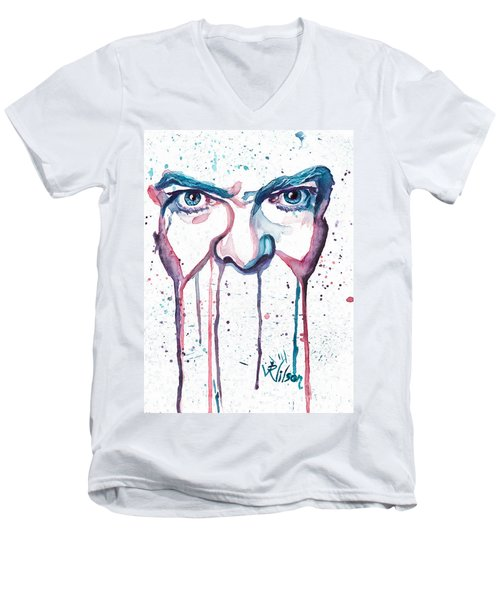 Men's V-Neck T-Shirt featuring the painting Bowie by D Renee Wilson