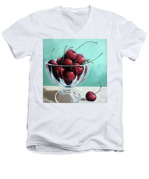 Bowl Of Cherries Men's V-Neck T-Shirt by Linda Apple