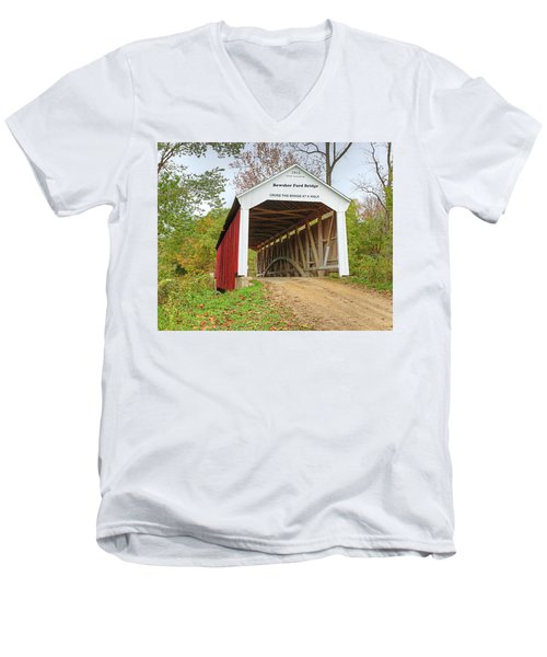 Men's V-Neck T-Shirt featuring the photograph Bowser Ford Covered Bridge by Harold Rau