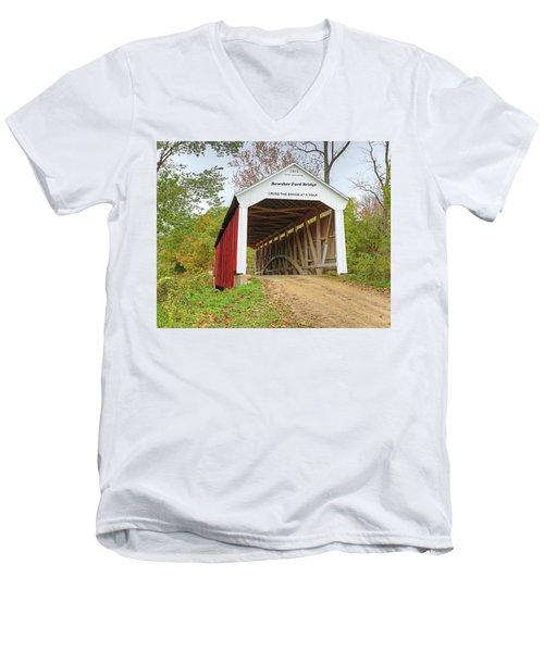 Bowser Ford Covered Bridge Men's V-Neck T-Shirt by Harold Rau
