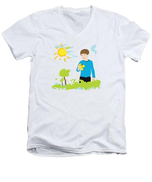 Boy Painting Summer Scene Men's V-Neck T-Shirt