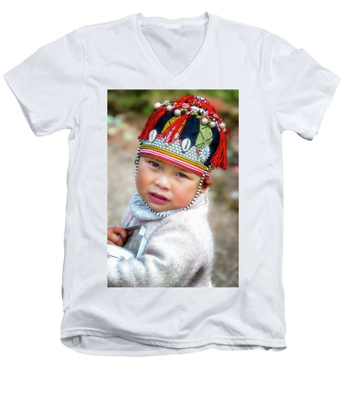 Boy With A Red Cap. Men's V-Neck T-Shirt