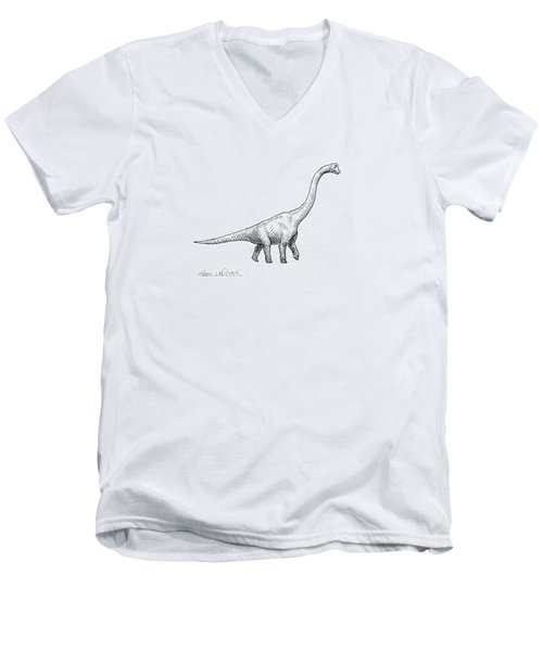 Men's V-Neck T-Shirt featuring the drawing Brachiosaurus Black And White Dinosaur Drawing  by Karen Whitworth