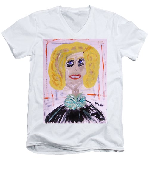 Men's V-Neck T-Shirt featuring the painting Brash Blond by Mary Carol Williams