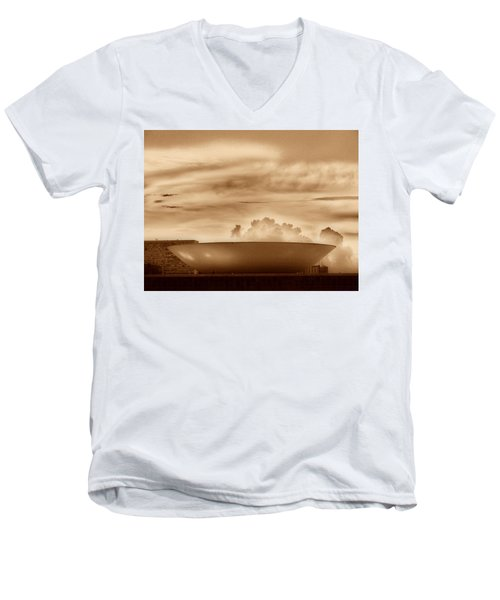 Men's V-Neck T-Shirt featuring the photograph Brasilia In Sepia by Beto Machado