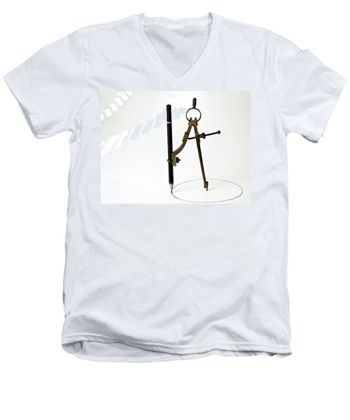 Brass Compass And Pencil Men's V-Neck T-Shirt