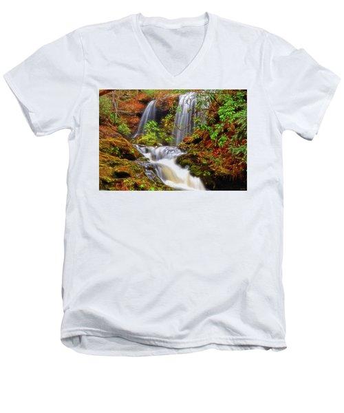 Brasstown Falls 013 Men's V-Neck T-Shirt by George Bostian