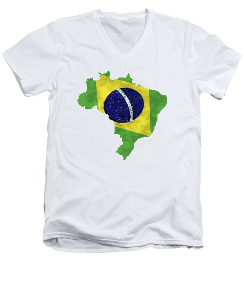 Brazil Map Art With Flag Design Men's V-Neck T-Shirt by World Art Prints And Designs