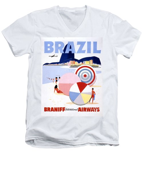 Brazil Vintage Travel Poster Restored Men's V-Neck T-Shirt