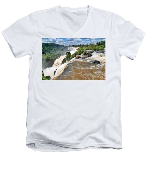 Men's V-Neck T-Shirt featuring the photograph Brazil,iguazu Falls, by Juergen Held