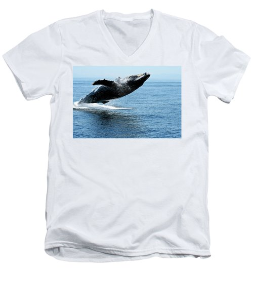 Breaching Humpback Whales Happy-2 Men's V-Neck T-Shirt
