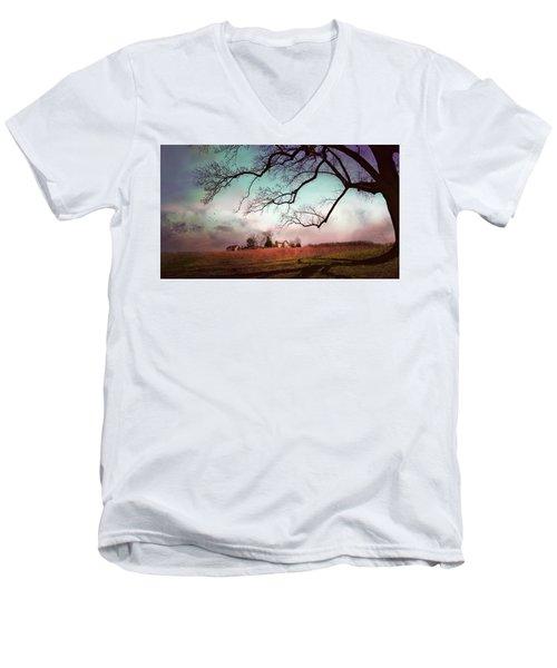 Break Of Dawn Men's V-Neck T-Shirt by John Rivera