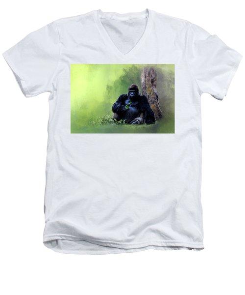 Break Time Men's V-Neck T-Shirt by Cyndy Doty