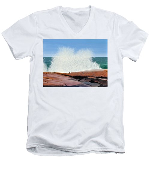 Men's V-Neck T-Shirt featuring the painting Breakers On Georgian Bay by Kenneth M  Kirsch