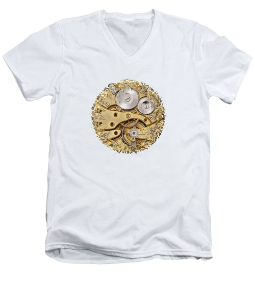 Men's V-Neck T-Shirt featuring the photograph Breaking Apart Clockwork Mechanism by Michal Boubin